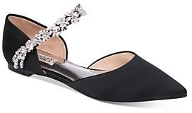 Badgley Mischka Women's Erin Crystal Embellished d'Orsay Flats