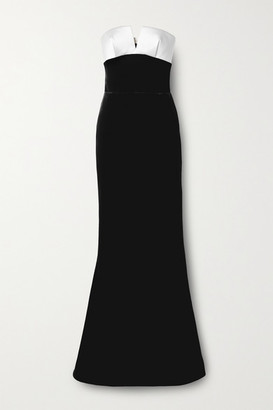 Rasario Strapless Velvet And Duchesse-satin Gown - Black