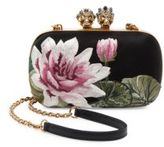 Alexander McQueen Queen & King Skull Lotus Leather Convertible Clutch