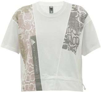 adidas by Stella McCartney Snakeskin-print Cotton-jersey T-shirt - Womens - White Print