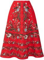 Erdem Tiana Floral-print Cloqué Midi Skirt - Red