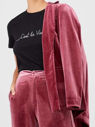 Very Wide Leg Velvet Trouser - Plum