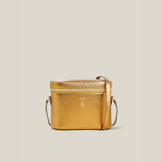 Mark Cross Gold Ginny Metallic Leather Cross-Body Satchel
