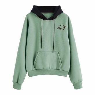 Esailq Blouse Women Hoody Pullover Top ESAILQ Ladies Winter Long Sleeve Loose Hoodies Casual Print Hooded Sweatshirts with Pocket(Mint Green M)