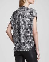 Vince Printed Cap-Sleeve Placket Silk Blouse, White/Black