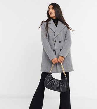 Fashion Union Petite double-breasted pea coat