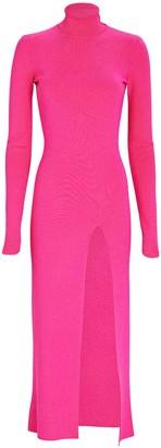 ZEYNEP ARCAY Turtleneck Rib Knit Midi Dress