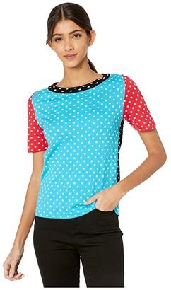 Boutique Moschino Polka Dot Knit Sweater (Fantasy Print Light Blue) Women's Clothing