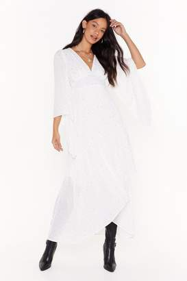 Nasty Gal Womens Too Star Gone Cape Maxi Dress - white - 6