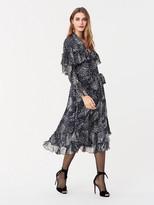 Diane von Furstenberg Martina Ruffled Chiffon-Blend Midi Wrap Dress