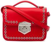 Alexander McQueen Red eyelet mini leather box bag