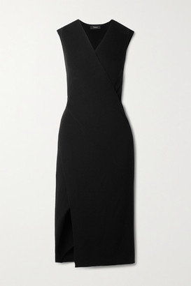 Theory Wrap-effect Ribbed Merino Wool Midi Dress