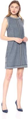 Nicole Miller Women's Pinstipe Stretchy Tech Sleeveless Shift Dress