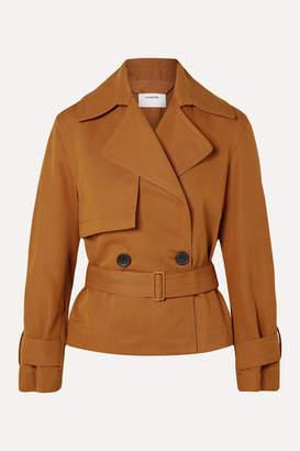 Vince Belted Linen And Cotton-blend Twill Jacket - Camel