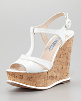 Prada Saffiano Cork-Wedge Platform Sandal, White