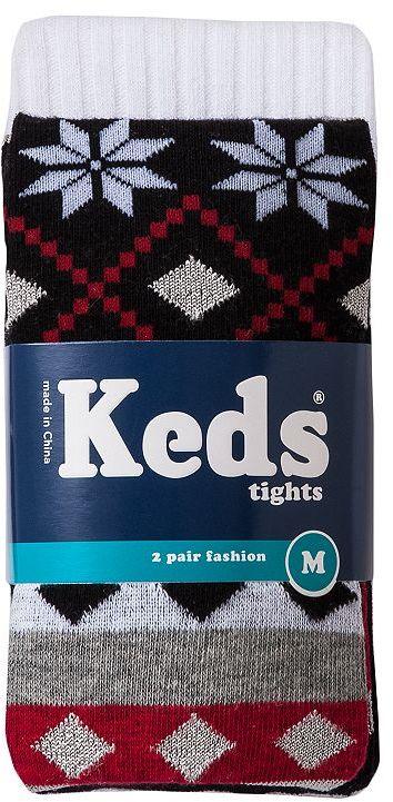Keds 2-pk. fairisle and textured tights - girls