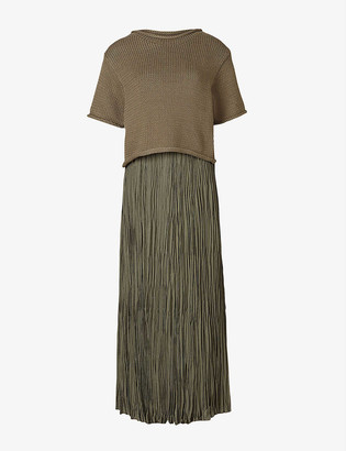 AllSaints Laze 2-in-1 pleated cotton-knit midi dress