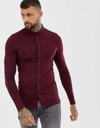 Asos Design DESIGN muscle fit jersey shirt in burgundy-Red