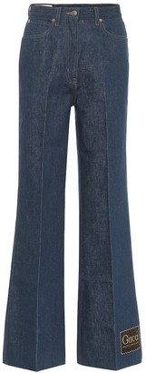Gucci High-rise cotton-denim flared jeans