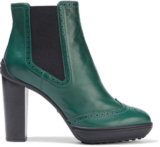 Tod's Perforated Textured-leather Platform Ankle Boots