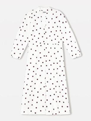 Ganni Printed Cotton Poplin Midi Dress Egret - 34