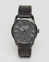 Barbour Jarrow Leather Watch In Black