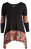 Glam Black & Pink Floral-Accent Sidetail Tunic - Plus