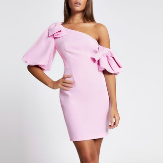 River Island Pink bow puff sleeve bodycon mini dress
