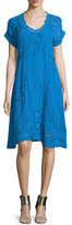 Johnny Was Short-Sleeve Midi Eyelet Dress, Petite