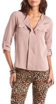 Charlotte Russe Floral Roll-Cuff Utility Blouse