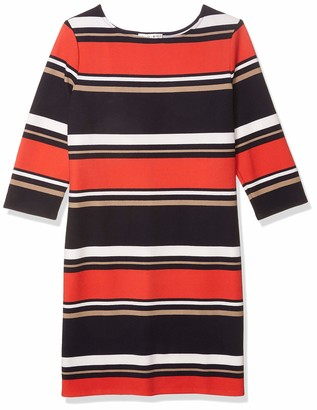 Sandra Darren Women's 1 Pc 3/4 Sleeve Printed Striped Crepe Knit Dress