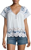 Calypso St. Barth Kerala Lace-Inset Embroidered Top, White