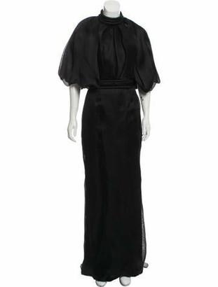 Brandon Maxwell Silk Evening Gown Black