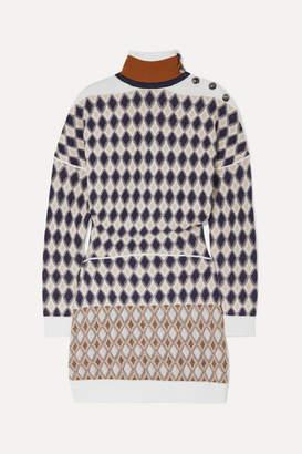 Chloé Button-embellished Argyle Merino Wool-blend Mini Dress - White