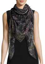 Alexander McQueen Wildflower Flight Square Silk Scarf, Black/White