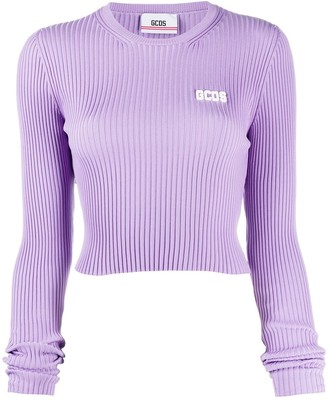 GCDS Ribbed Knit Cropped Jumper