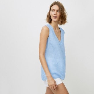 The White Company Linen Sleeveless Top, Blue, 4