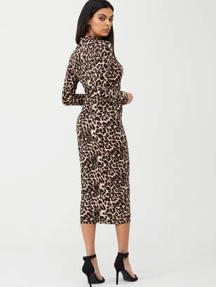 AX Paris Leopard Print Bodycon Midi Dress - Animal Print