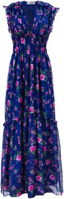 Philosophy di Lorenzo Serafini Dark Blue Floral-print Long Dress