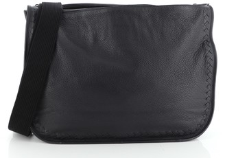 Bottega Veneta Double Compartment Messenger Bag Leather with Intrecciato Detail Large