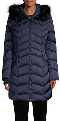 Tahari Faux Fur-Trim Chevron Puffer Down Coat