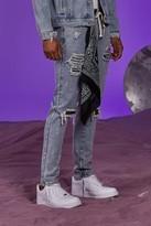 boohoo Mens Blue Skinny Paint Splatter Jeans With Bandana, Blue