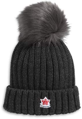 Canadian Olympic Team Collection Women's Ribbed Faux Fur Pom-Pom Tuque