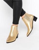 Office Amber Stud Metallic Leather Heeled Chelsea Boots