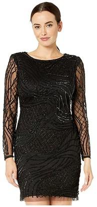 Adrianna Papell Beaded Long Sleeve Dress (Black) Women's Dress