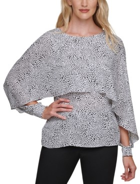 DKNY Printed Long-Sleeve Cape Top