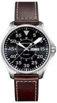Hamilton Khaki Aviation Pilot Leather Strap Watch, 42mm