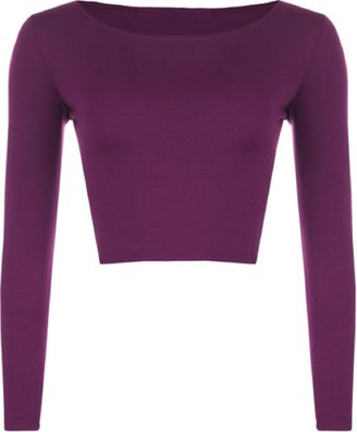 Lush Clothing 83A-Womens Round Neck Long Sleeve Crop Cropped Stretch Top / T-Shirt- Black - S/M=Uk 8-10