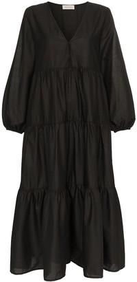 Matteau Tiered Cotton Poplin Maxi Dress