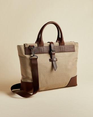 Ted Baker LITLE Jute and recycled polyester canvas document bag